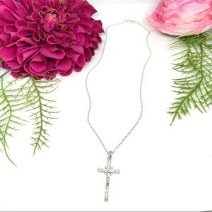 NEW⚜️STERLING SILVER Cross Crucifix Charm Necklace